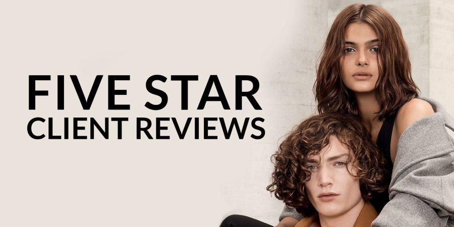 five star client reviews banner